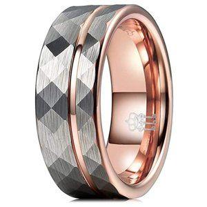 Men's Wedding Ring Tungsten Hammered Gold Tone 13